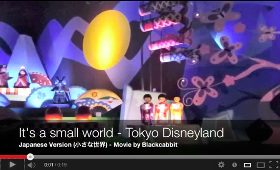 Click on picture to see the Japanese section in the It's a Small World at Tokyo Disneyland, featuring part of the song 小さな世界 (with lyrics), which is the Japanese version of It's a small world.